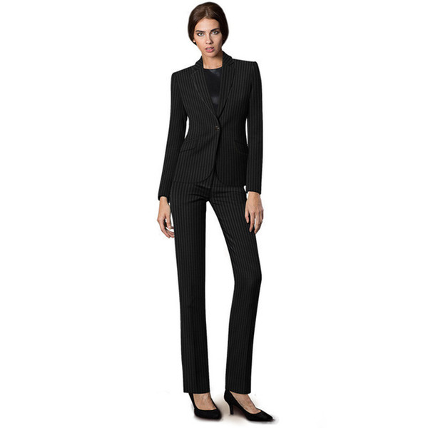 Women Black Striped Business Suits Pattern Uniform Pant Suits Stylish For Business Women Office Formal Slim 2 Pieces Sets