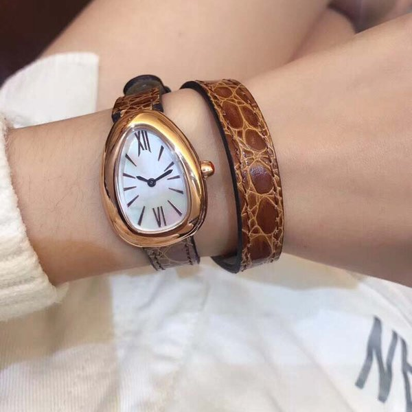 28MM Outdoor Womens Watches Quartz Serpenti Viper Ladies Watch Mother Of Pearl Dial With Double Twirl Brown Leather Band