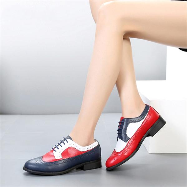 100% cuir de vache véritable designer occasionnel vintage lady appartements chaussures oxford à la main pour femmes rouge bleu blanc