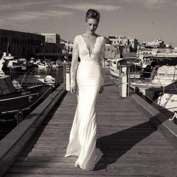 2019 Mermaid Praia Vestidos De Casamento Sexy Profundo Decote Em V Ilusão Mangas Compridas Lace Applique Barato Bohemia Nupcial Vestidos Vestido de Noiva