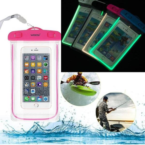 Bolsa de teléfono luminosa a prueba de agua 9 colores 6.4 en funda de natación de PVC Funda protectora para teléfono Bolsa de viaje Bolsa antipérdida de buceo para iPhone Samsung