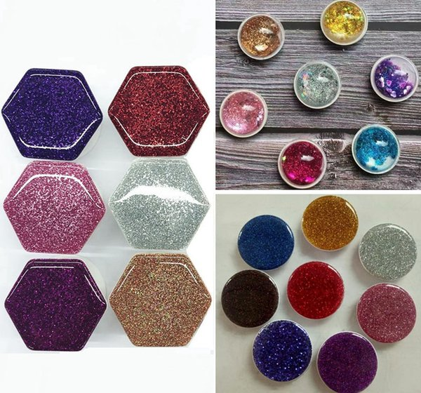 Universal Hexagon Glitter 3D Quicksand Glitter Airbag Grip Cell Phone Holder Expandable Bracket Stand With Opp Bag Package DHL