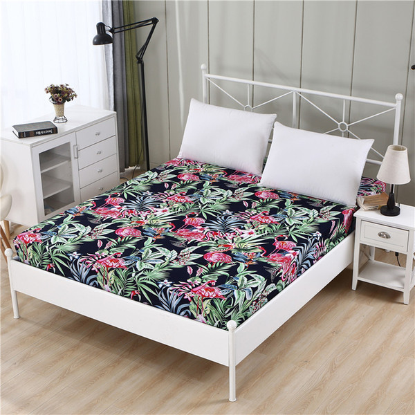 100% Polyester Sheet Mattress Cover Bed Sheet Printing Fitted Sheet Four Corners With Elastic