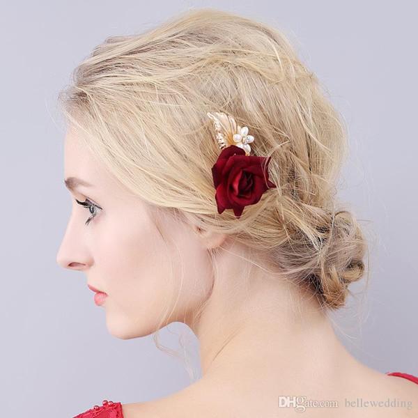 Acheter Nouveau Mariage Headpieces Blanc Peals Rouge Rose Epingles