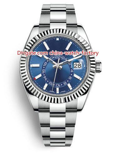 8 Stil En Kaliteli Topselling 42mm Sky-Dweller GMT Workin 326934 326933 326938 Tarih Çelik Asya 2813 Hareketi Otomatik Mens Watch Saatler