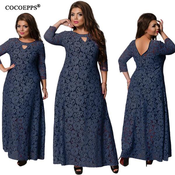 6xl 2019 New Spring Summer Women Long Dress Lace Plus Size Dress Fashion Party Elegant Big Large Size Maxi Dresses Girl Clothes J190511