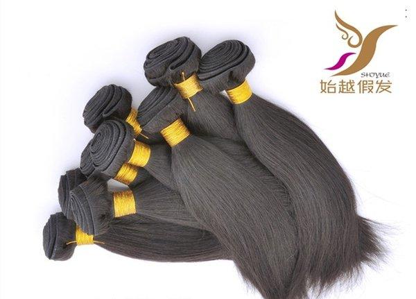 El color negro peruano paquetes de cabello recto 100% de la armadura del pelo humano 6a sin procesar doble trama del pelo recto que teje 10-30 pulgadas