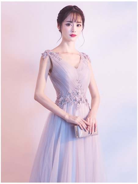 Evening dress dress 2018 new banquet show thin bridesmaid dress long chair dignified atmosphere noble elegant art test