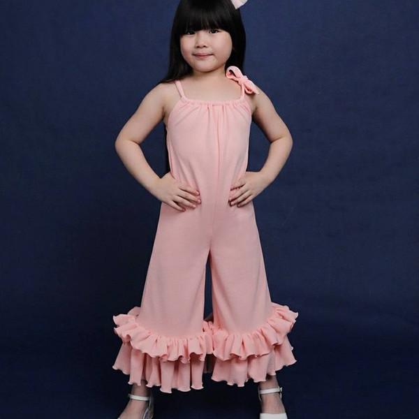 Combinaisons Designer de bébé fille en dentelle solide Arc Enfants Pantalon évasé plissé en coton mélangé sans manches col rond 40
