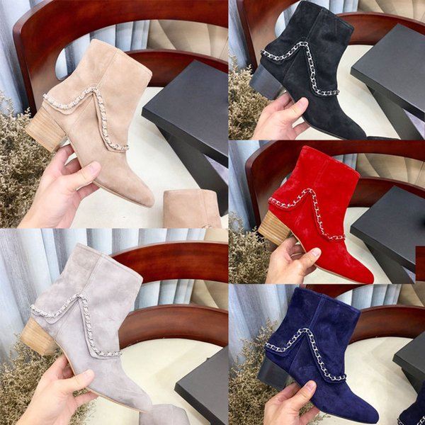 Luxury women's booties fashion brand Suede effect calfskin women boots woman ankle booties designer chunky heel ankle boot