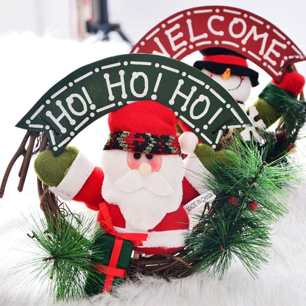 Christmas Wreath For Xmas Party Door Wall Hanging Garland Doll Decor #V
