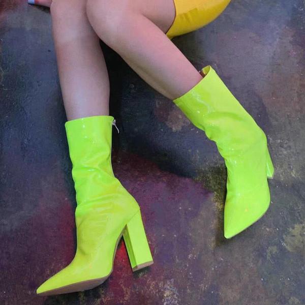Moda PU Kadınlar Orta Buzağı Boots Sivri Burun Süper Yüksek Vintage Kış Boots Katı Sivri Burun Süper Yüksek Artı boyutu Ayakkabı