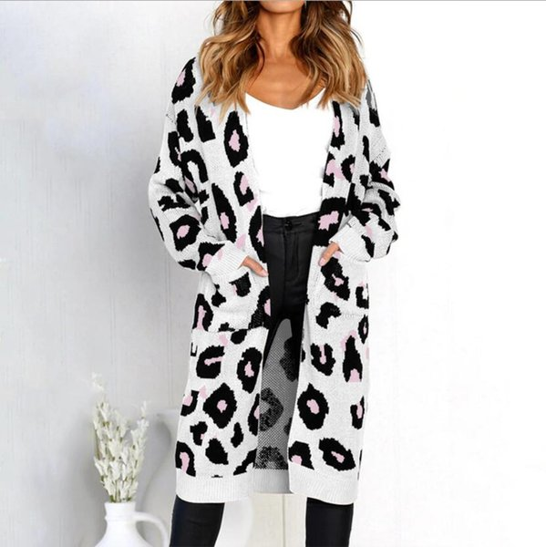 New fashion casual 2019 Europe and America spring and summer new explosions leopard cardigan knit long sleeve sweater coat