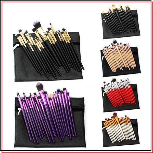 Professional Make Up Brushes 20 pcs Eyeshadow Makeup Brush Kits Powder Eyebrow Cosmetic Set Tool with PU leather Case Bag Black Gold Red