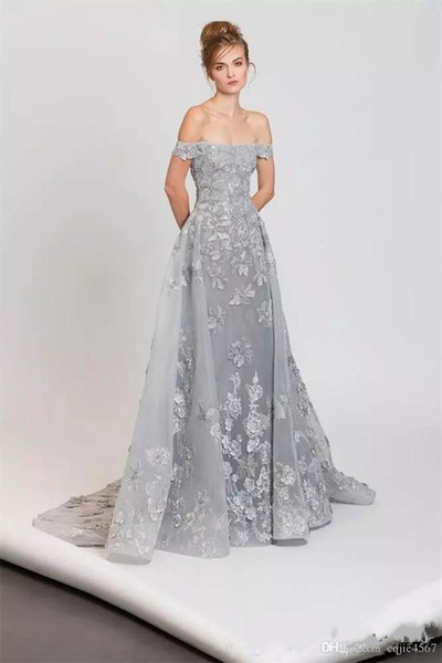 2020 New Sexy Tony Ward Off the Shoulder Silver Evening Dresses With Overskirt Organza A-Line Appliques Beaded Sweep Train Formal Prom Gowns