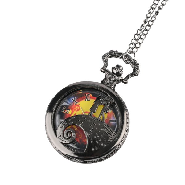 New Fashion The Nightmare Before Christmas Theme Fob Watches Vintage Necklace Chain Quartz Pocket Watch Men Children Women Gifts