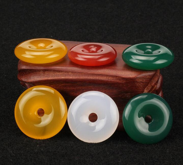 Natural ice seed chalcedony agate red green yellow white jade peace buckle jade pendant jade buckle pendant hot sale