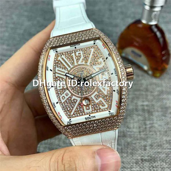 New Luxury V45 SC DT Automatic Full Diamond Rose Gold Watch Sapphire Crystal White calfskin Strap Solid Case Back Mens Watch Folding Buckle