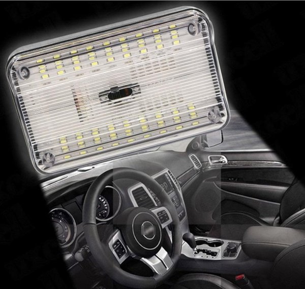 Lampada 12V universale a LED bianca Lampada a led auto automatica Luce a cupola per auto 36 SMD LED Tetto rettangolare a soffitto Lampada interna Interruttore on / off