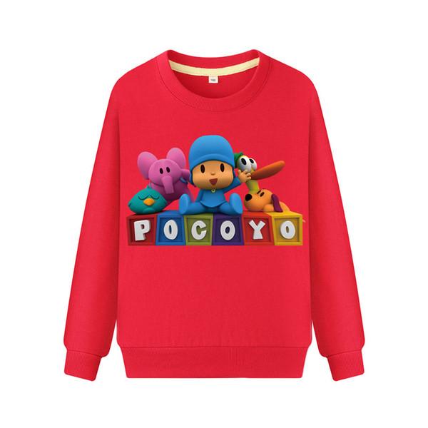Baby 100%Cotton Casual Hoodies Clothes Boys Long Sleeve T-shirts Costume Girls 3D Pocoyo Print Sweatshirt Children Hoodie