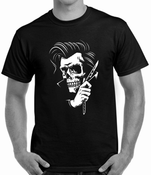 ROCKABILLY TATTOO HIPSTER BARBER STYLE MEN`S T SHIRT SKULL Funny free shipping Unisex Casual gift