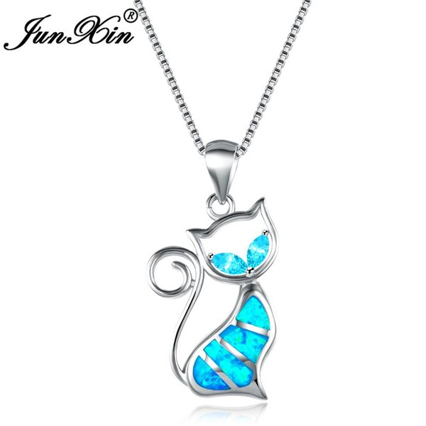 JUNXIN 2018 New Brand Design Women Cat Necklace Blue Fire Opal Necklaces & Pendants Fashion 925 Sterling Silver Animal Jewelry