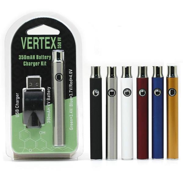 Onceden Pil Starter Kit CO2 Yağ Vape Değişken Voltaj 510 Konu Ayarlanabilir VV 350Mah E Sigara Vertex Batarya
