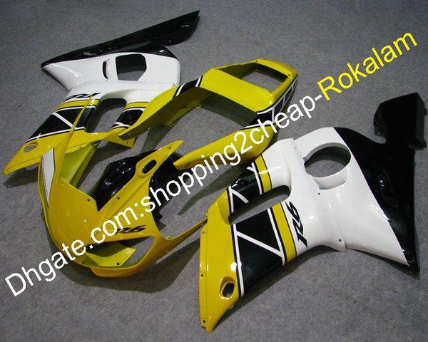 Kit de carenado para Yamaha YZFR6 1998-2002 YZF 600 R6 98 99 00 01 02 YZF-R6 Piezas de montaje de motocicleta Amarillo Negro Blanco (moldeo por inyección)
