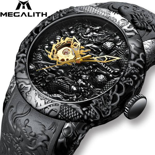 Erkekler su geçirmez Silikon Kayış Kol Saati Relojes Hombre 8041 V191116 için MEGALITH Altın Ejderha Heykel Otomatik Mekanik İzle
