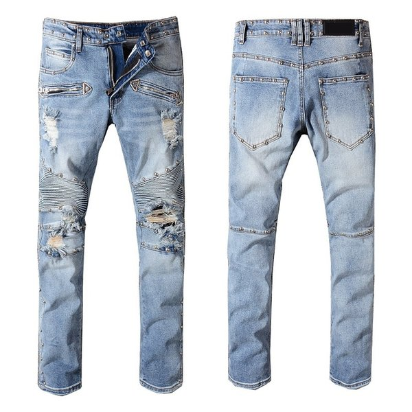New France Style #1052# Mens Embellished Ribbed Metal Stretch Moto Pants Washed Biker Blue Jeans Slim Trousers Size 29-42