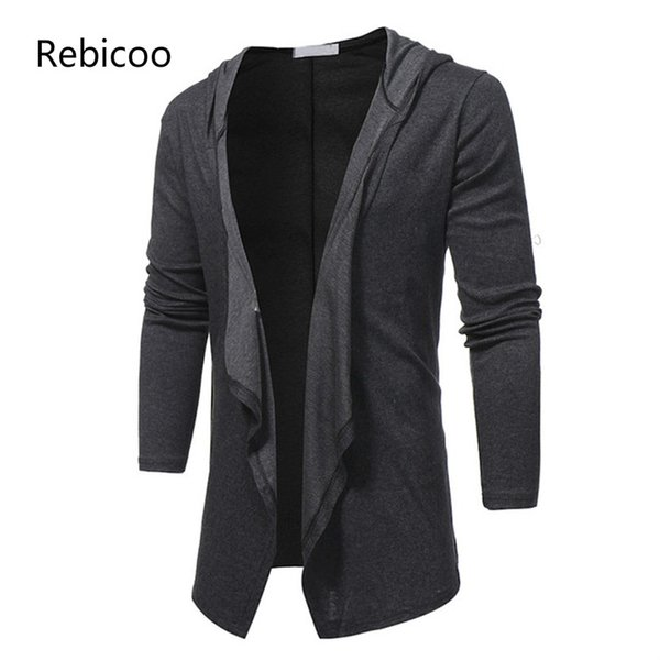 2019 Spring Autumn New Fashion V Neck Shawl Collar Long Hoodie Cardigan Jacket Men Hooded Cloak Black Casual Male Gothic Coat