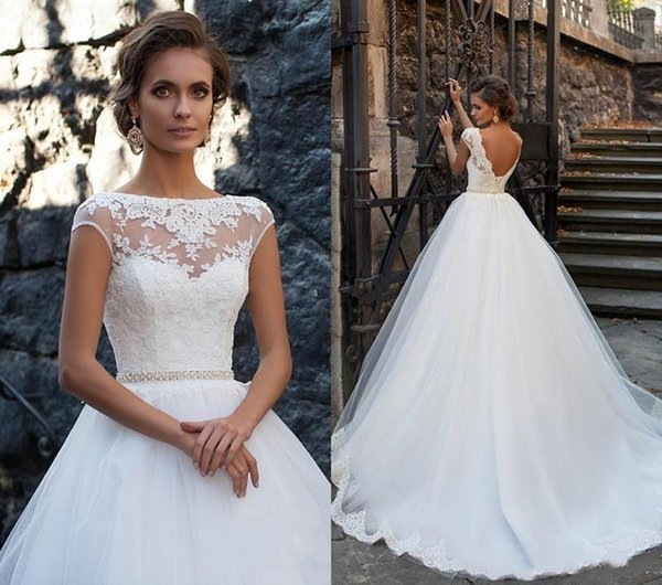 Vestidos 2019 Jewel A Line Lace Applique Sash Cap Sleeves Sweep Train Elegant Castle Wedding Dreses Pleats Custom Made Bridal Wedding Gowns