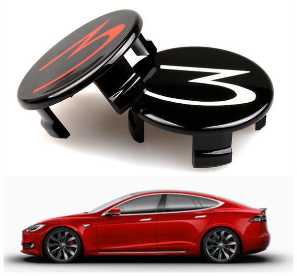 Tesla Model 3 Araba Tekerlek Merkezi Cap Dekorasyon Dekor için Kırmızı Beyaz 4 ADET ABS