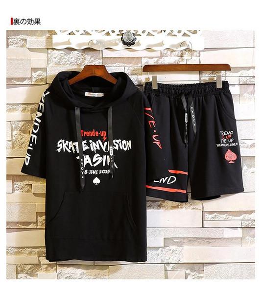 Man Letter printing Short sleeve Short pants Suit T shirt Summer wear cotton Pullover black motion Leisure time 2 pieces Suit New style