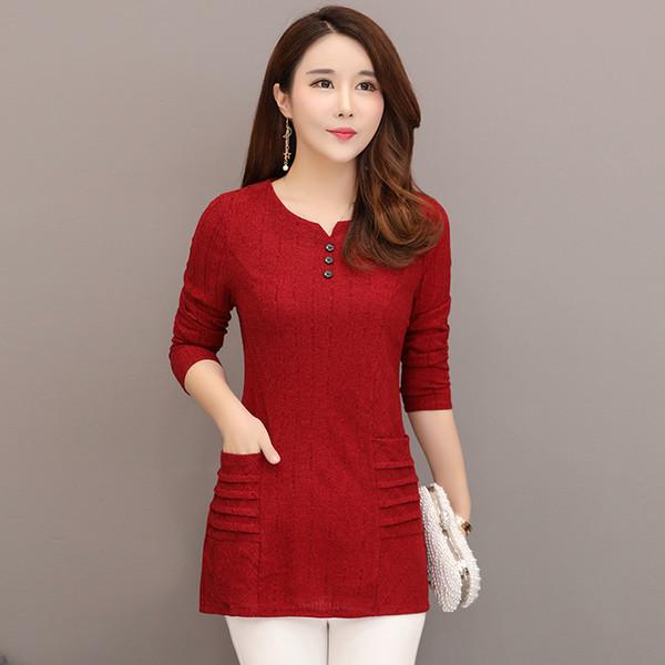 Plus Size Nova Primavera Mulheres Camisas Soltas Mãe Camisa Blusa Curta Verde Escuro Vermelho Vinho Cor Caramelo 8891 Y19050501