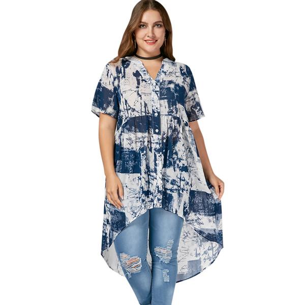 Trendy Summer Plus Size Women Print Camisa con cuello en v Tie Dye Túnica larga Top Irregular Blusa alta suelta Tops femeninos 2019 Blusas