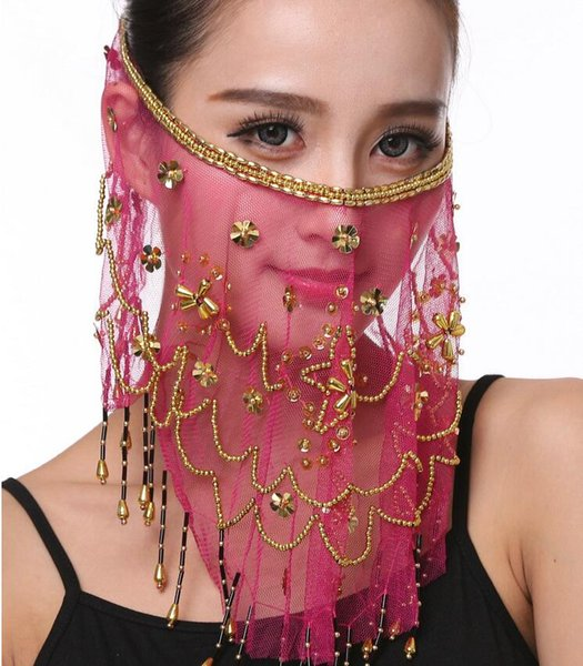 High quality Three-layer beaded veil P23 performance dance props belly dance accessories new plum scarf scarf hair mask
