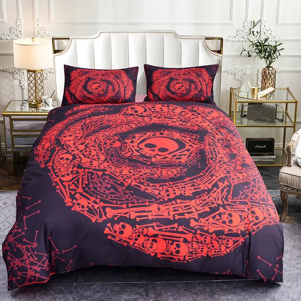 Boniu 3d Skull Rose Pattern Comforter Bedding Set 3pcs Skeleton Duvet Cover Set for Adults Soft Bed Cover king Size Bedclothes