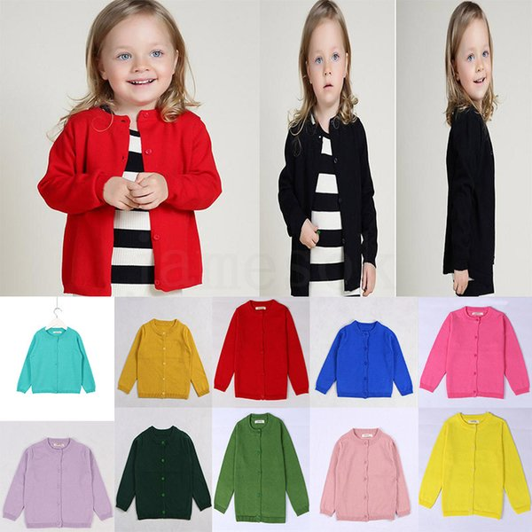 DHL 2-6 Years children cardigan sweaters INS Autumn Spring cotton kids sweater candy color cardigan boys girls cardigan children outwear dc