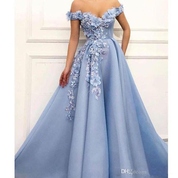 2019 Elegante Azul Fora do Ombro Vestidos de Baile 3D Flor Beading Abendkleider Vestidos de Noite Drapeado Longo Formal Vestido de Festa Custom Made