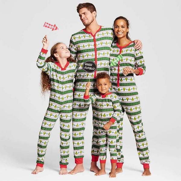 Pyjama assortis famille Noël à rayures Noël PJS vêtements, vacances une pièce de nuit de costume pour papa, maman, enfants