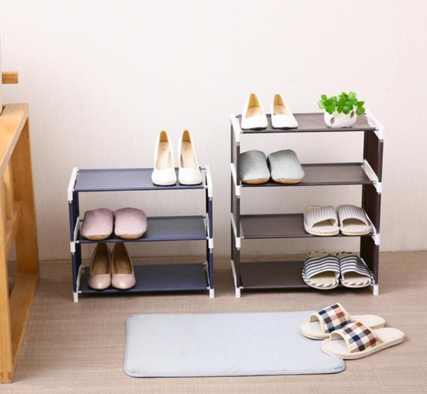zapatero de almacenamiento de tela montaje en el hogar Estante de zapatos creativo color sólido estante de zapatos no tejido simple Sala de estar dormitorio al por mayor