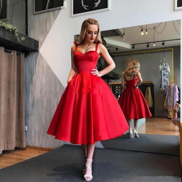 Compre Vestidos De Fiesta Con Forma De Bola De Color Rojo Oscuro Vestidos De Fiesta De Cóctel Con Longitud De Satén 2019 Vestidos De Cóctel Largos Sin