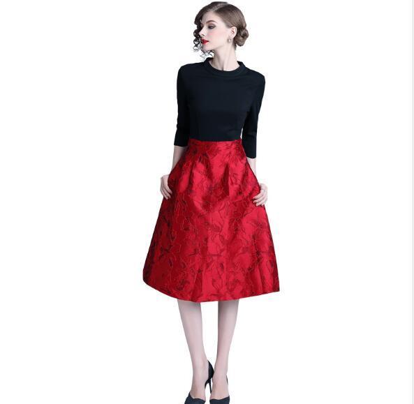 Cheapest Fashion Spliced Slim A-line Skirt Long Dress
