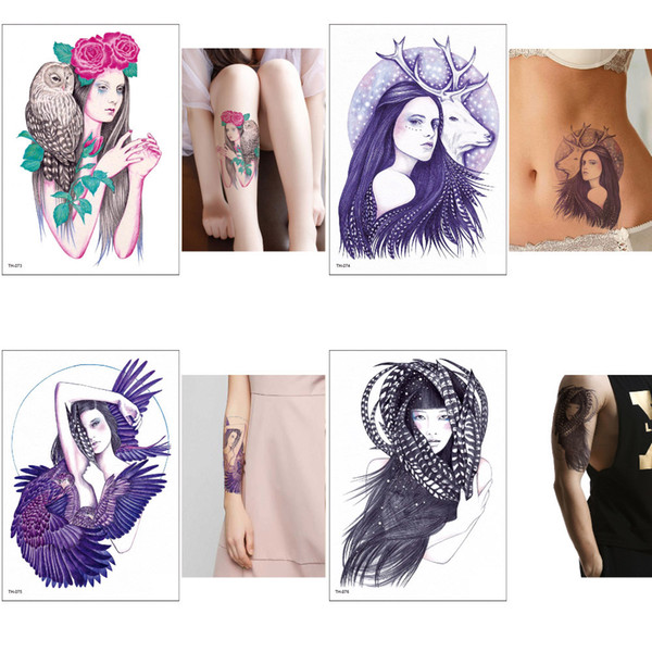 Fashion Cool Women Body Temporary Tattoo Sticker Water Transfer Decal Designs for Boys and Girls Feather Bird Tattoo Waterproof Party Beach