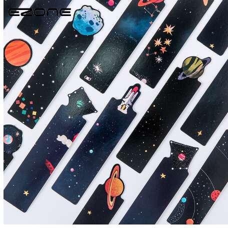 EZONE 30Pcs/Set Planet Bookmark Message Card Creative Galaxy Paper Bookmarks Book Holder School Office Supplies Material Escolar