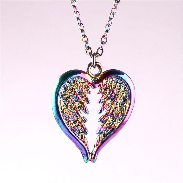 23325 en alliage de Rainbow Angel Wings Collier femme Ailes d'ange Pendentif ange gardien Charm Bijoux Cadeaux Wing Collier