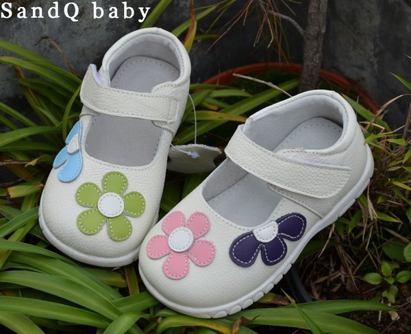 Girls Shoes Genuine Leather Black Mary Jane With Flowers White Rose Children Shoes Good Quality Stock Little Kids Beautiful Shoe Y19051403