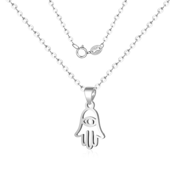 100% 925 Sterling Silver Hamsa Hand Charm Necklace Amulet Protection Hand Jewellery Sterling Pendant Neck lace