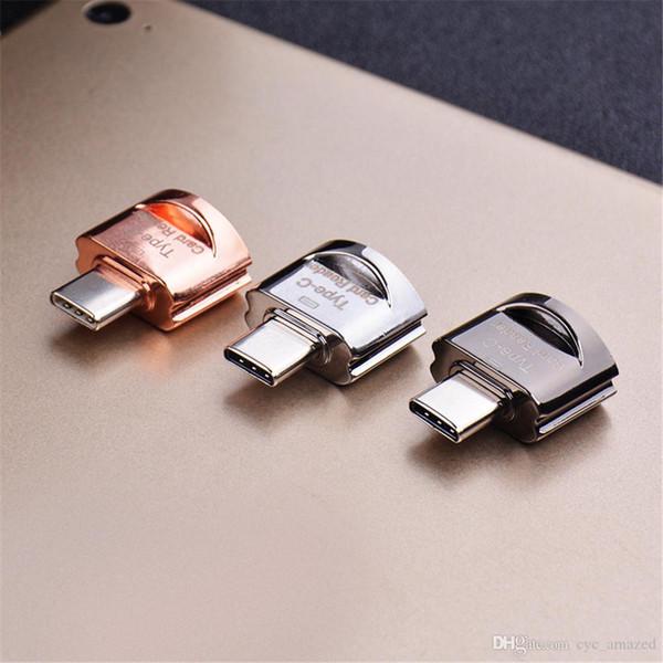 Alta calidad conveniente para llevar llavero USB 3.1 tipo-C a tarjeta TF adaptador de lector de tarjetas de memoria para computadora de teléfono móvil